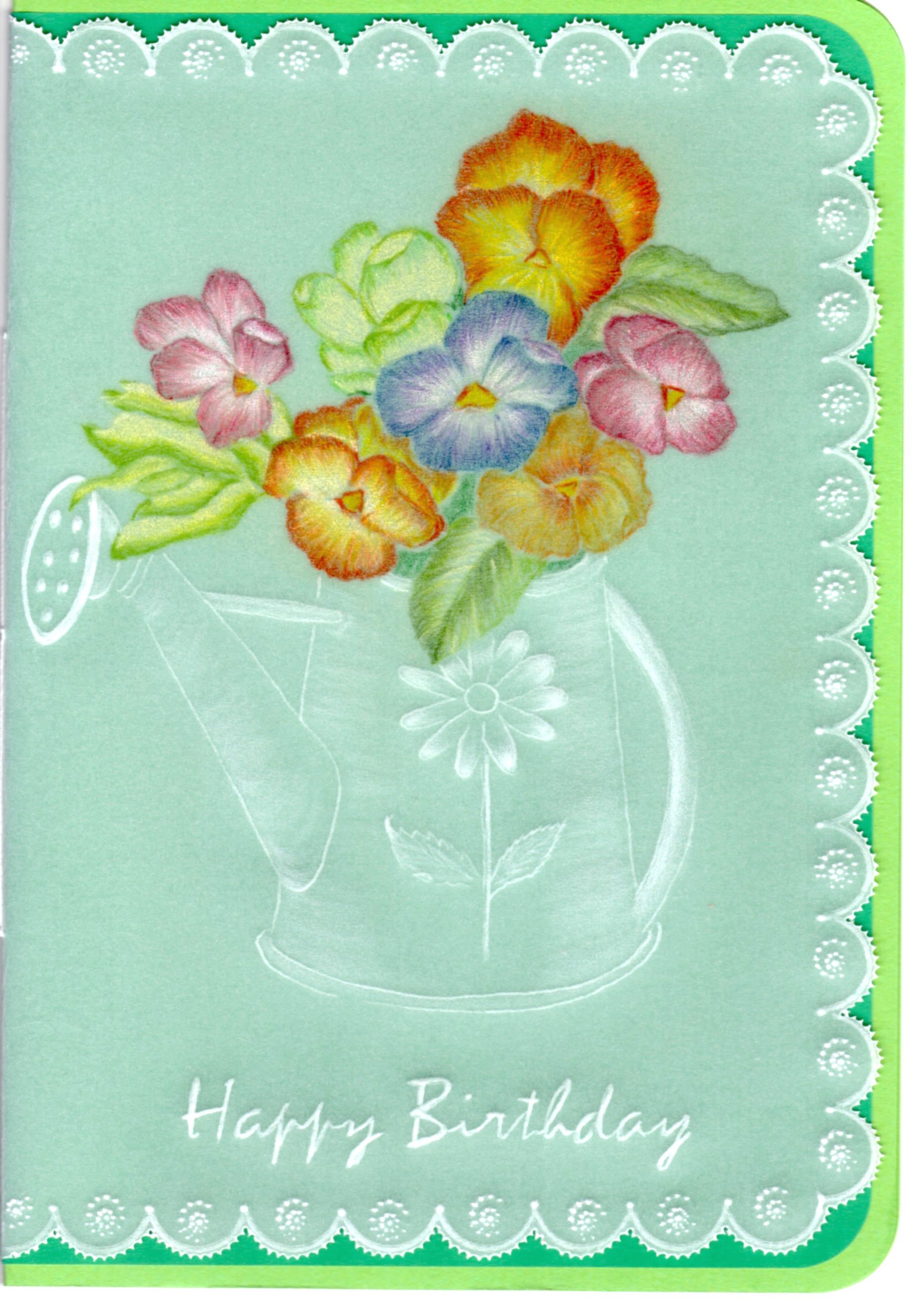 Pansies in a Can – Card Pattern Download 32